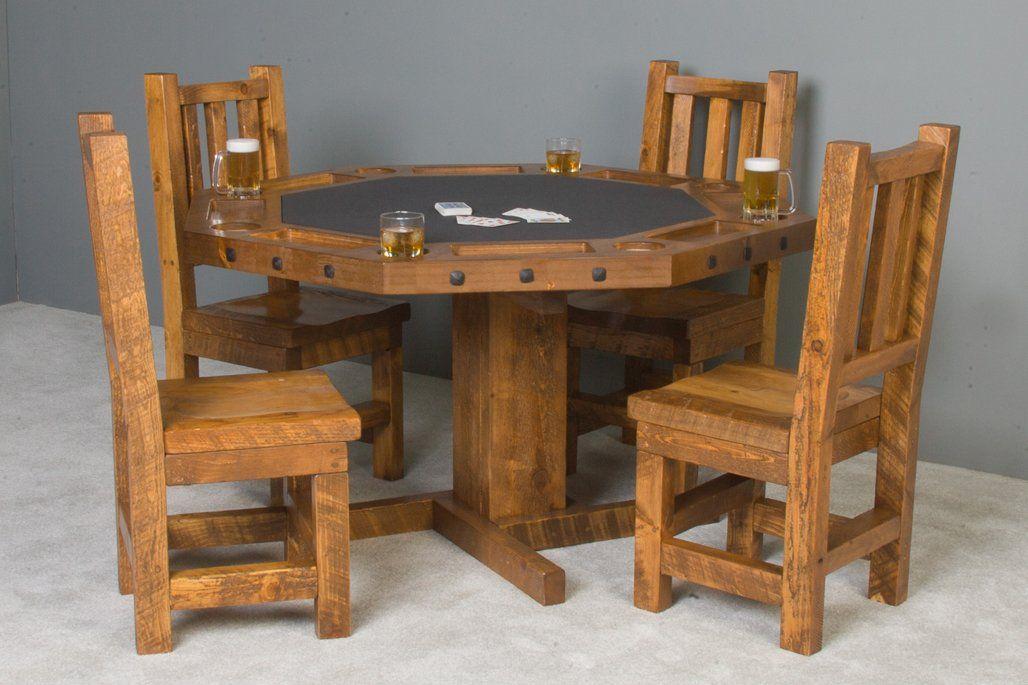 viking log poker dining table set barnwood with matching wood seat rh pinterest com