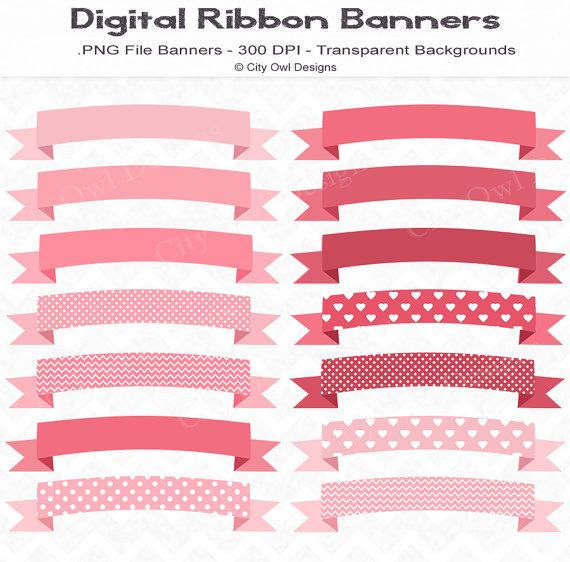Pink Theme Ribbon Banners Digital Scrapbooking and Clipart