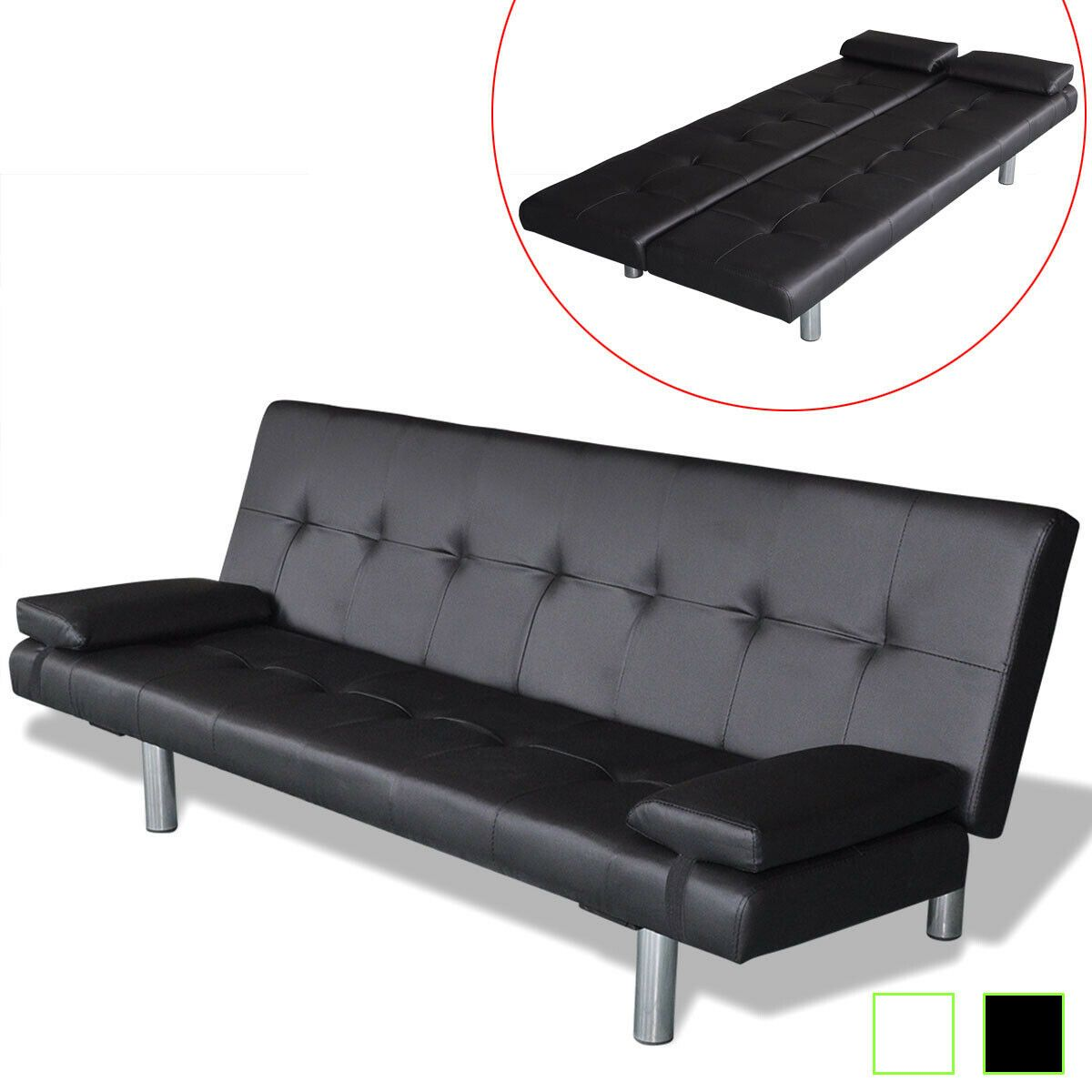 Vidaxl Sofa Bed W 2 Pillows Artificial Leather Adjustable Black Cream White White Sofa Id Living Room Furniture Sofas Best Leather Sofa Sofa Bed Furniture