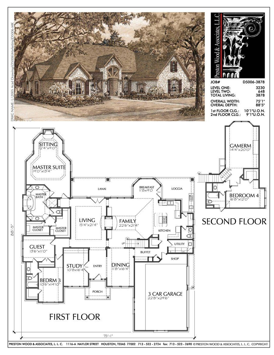 1 1 2 Story Home Plan D5006 One Story Homes Craftsman House Plans House Plans