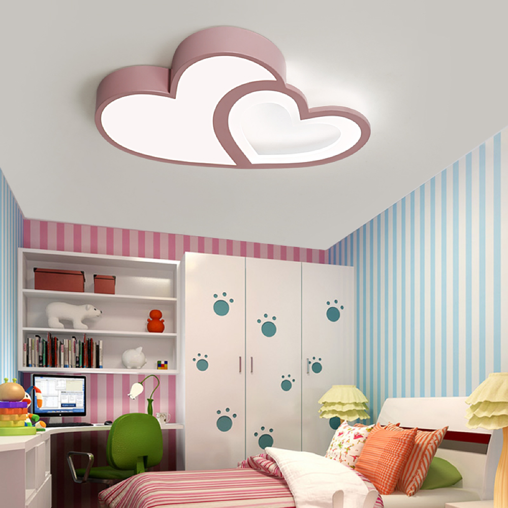 Creative Warm Heart Shaped Children S Room Led Ceiling Lamp Simple Eye Protection Kids Light House Ceiling Design Ceiling Design Living Room Ceiling Design Bedroom