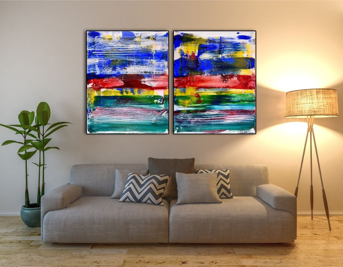 Vibrant diptych with bold color blending, big palette knife strokes and asymmetrical shapes. This painting conveys motion, energy as well as lots of light and fast changes in contrast. Two triple p...