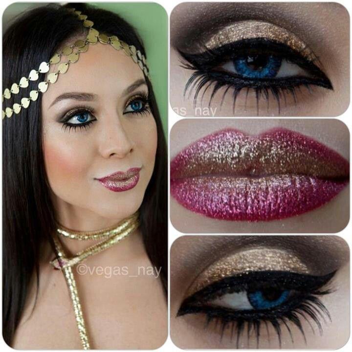 Egyptian makeup. love her eye makeup...not the lips