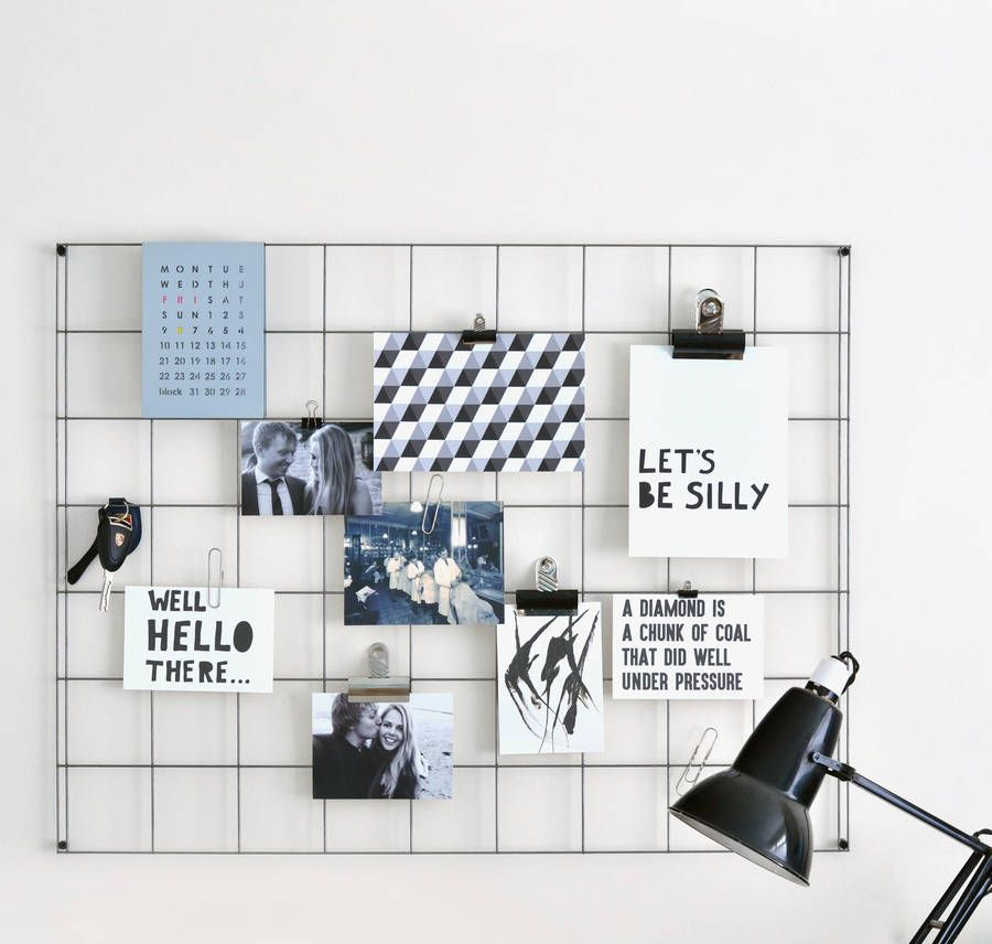 Steel wire mesh noticeboard minimalist steel and cleaning for Pinterest minimalist home