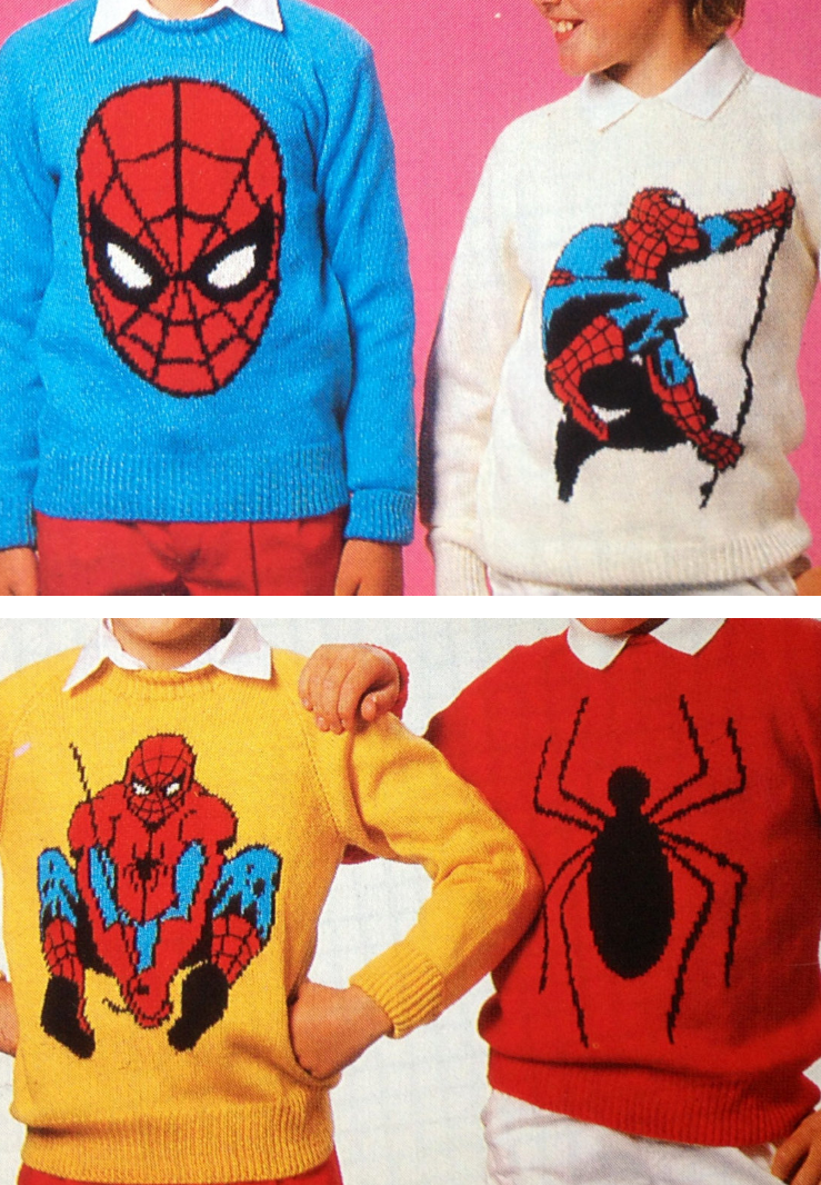 knitting pattern for spiderman sweaters vintage pattern for a set of intarsia sweaters with spiderman motifs in child and adult sizes from 24 to 44 inch  [ 739 x 1066 Pixel ]