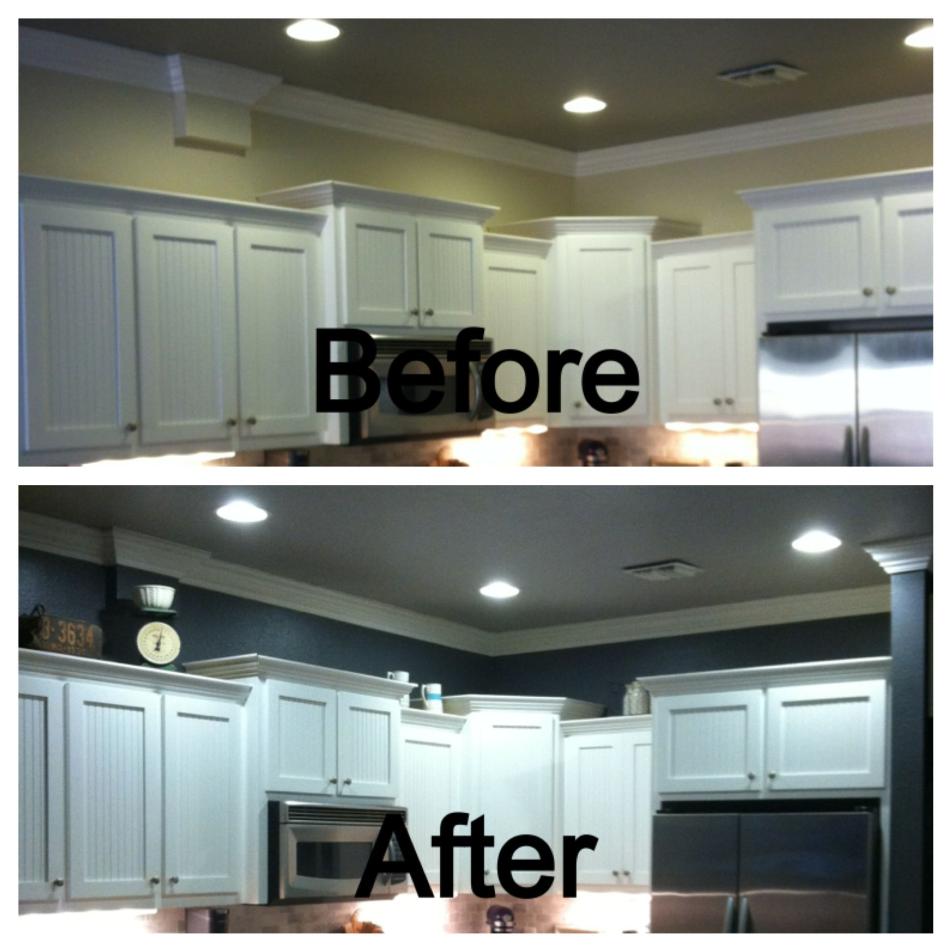 Behr Dark Ash Above The Kitchen Cabinets Before And After Ash