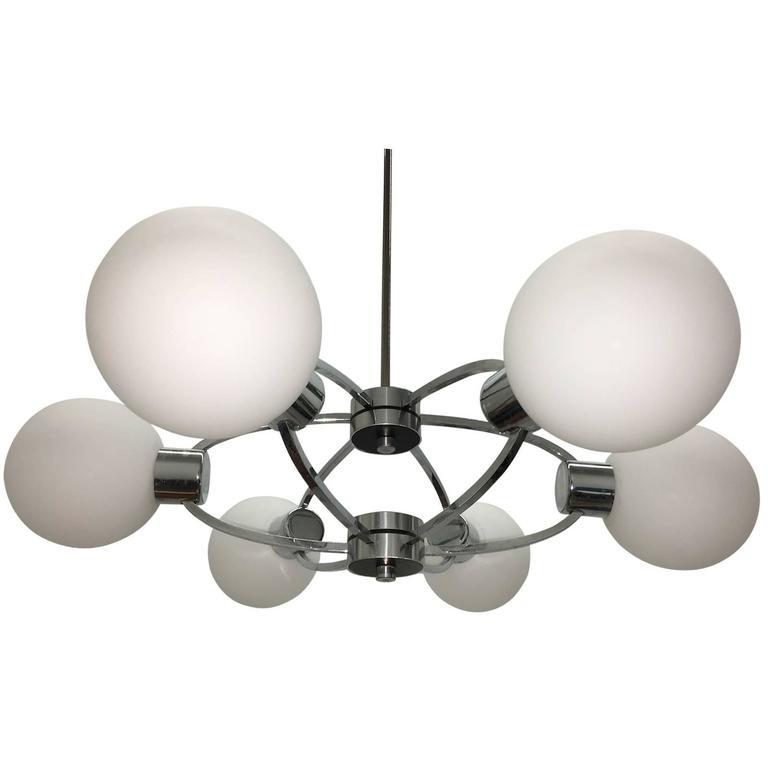 Six Ball Opal Glass Chrome Orbit Lamp