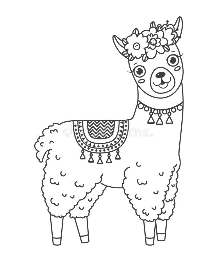 Illustration About Cute Outline Doodle Jumping Lama With Hand Drawn Elements Vector Illustration Col Cute Coloring Pages Unicorn Coloring Pages Coloring Pages