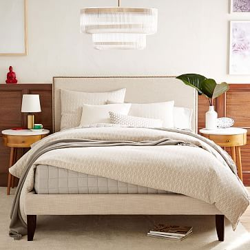 tall nailhead upholstered headboard west elm