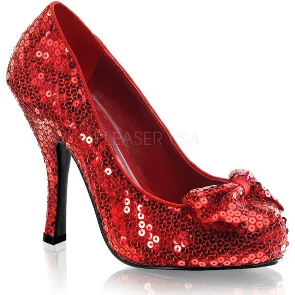 "Pleaser Shoes OZ-06 - $43.93 - 4 1/2"" Heel Ruby Slippers ($38) ❤ liked on Polyvore featuring shoes, heels, red shoes, sequin shoes, ruby red shoes, bow shoes and red high heel shoes"
