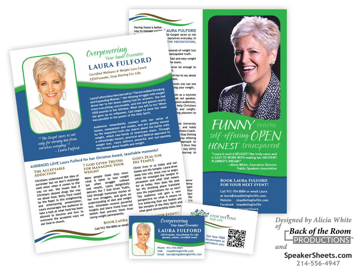 A Business Card And Two Page Speaker One Sheet Example For Laura Fulford A Speaker Author And Coach Designed Public Speaking Professional Speakers Speaker