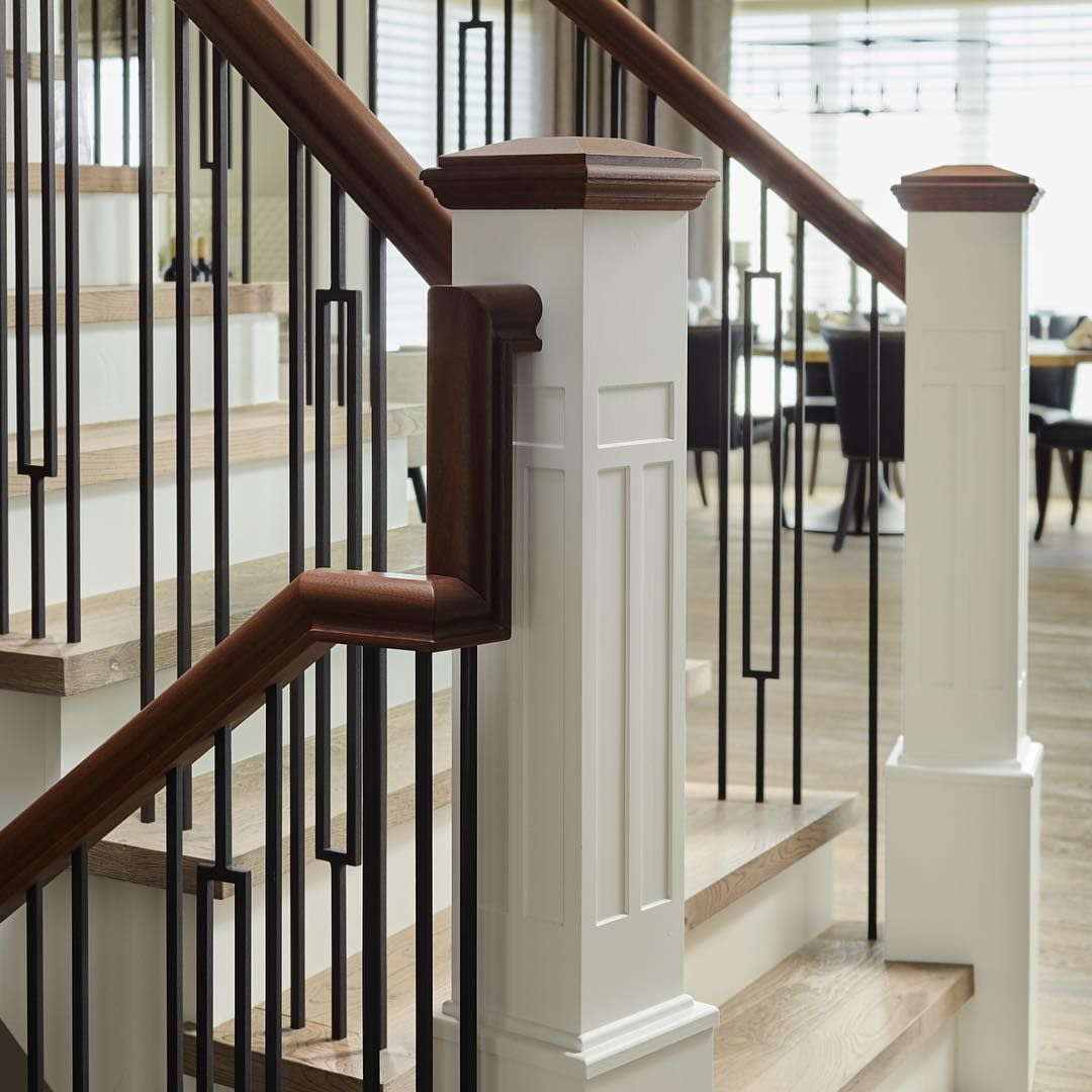 """Beautiful Interior Staircase Ideas And Newel Post Designs: Custom Newel Posts On Instagram: """"Soft, Welcoming"""