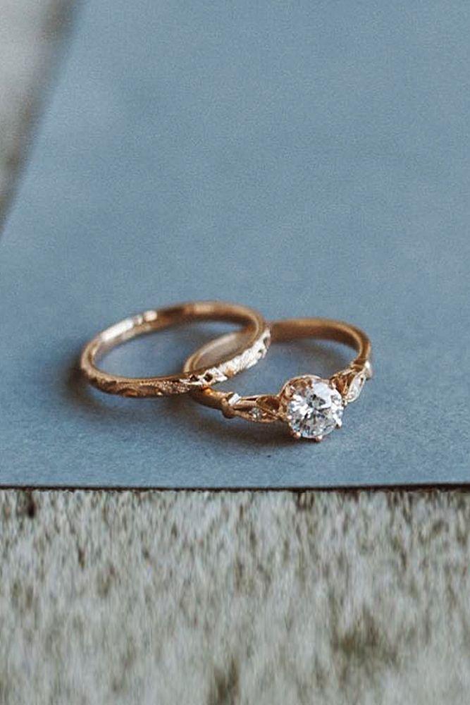 33 ideas de anillos de oro rosa solitario para chicas tiernas