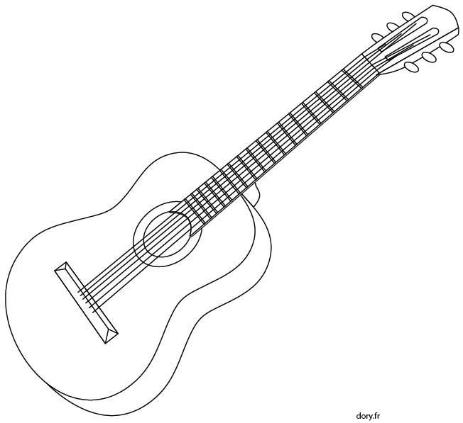 Coloriage Facile Instruments.Dessin A Imprimer Une Guitare Acoustique En 2019 Dessin