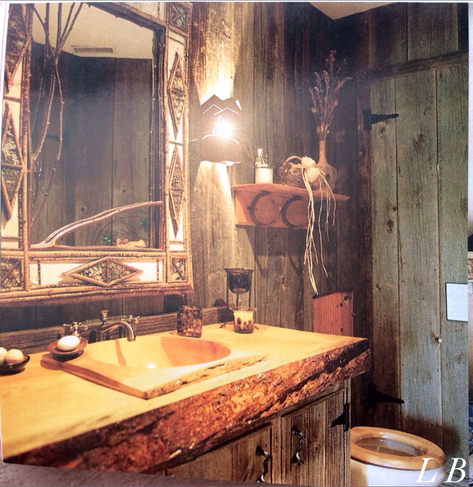Vanity Counter Made From The Centre Part Of A One Piece Planed Log The Sink Is A Dropped In Wooden Salad Bowl Wooden Salad Bowl Unique Mirrors Vanity Counter Bathroom sink countertop one piece