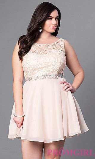 Short Plus Size Lace Bodice Party Dress at PromGirl.com | Plus ...