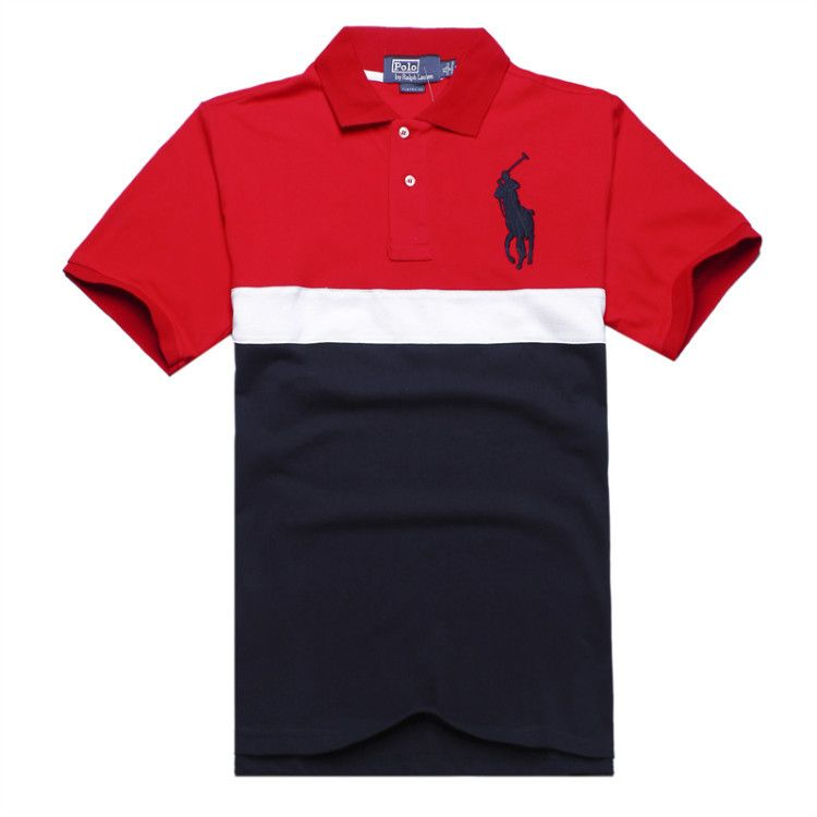 Ralph Lauren Men\u0026#39;s Striped Crest Short Sleeve Polo Shirt Red http://www.