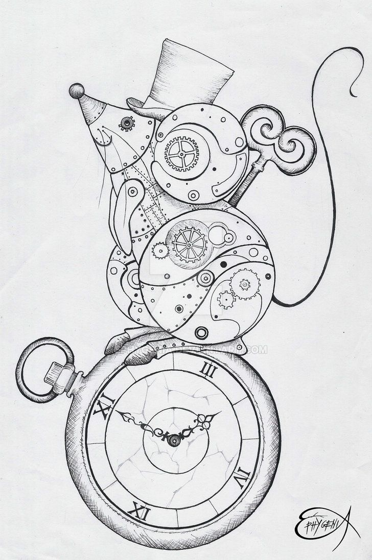 Steampunk Coloring Page. Steampunk Clockwork Mouse WIP by