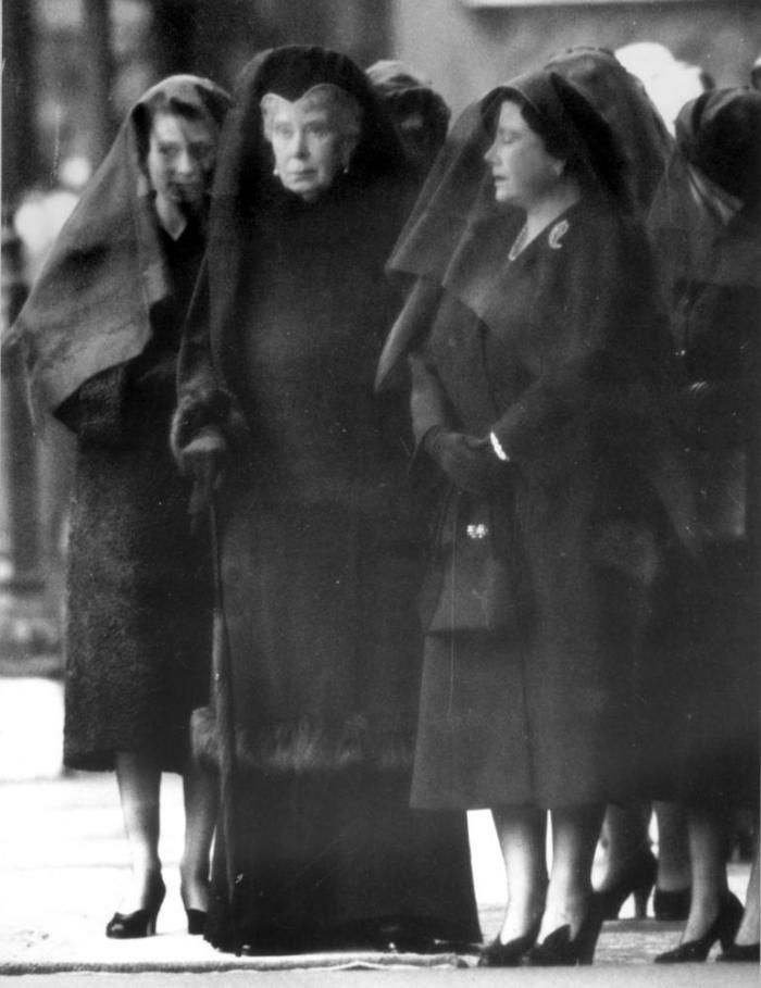 The Three Queens in Mourning --- King George VI died on February 6, 1952. This is a photo of Princess Elizabeth (the new Queen); Queen Mary (the King's mother) and Queen Elizabeth (the King's wife) making their way slowly into the chapel where the king's body lay in state. #history