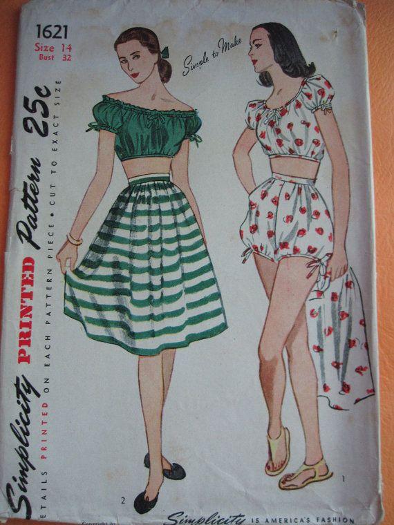 Vtg 1940s Simplicity 1621 Peasant beach lounge Bohemian midriff top shirt skirt bloomers shorts Playsuit pattern 14/32 Printed Cut