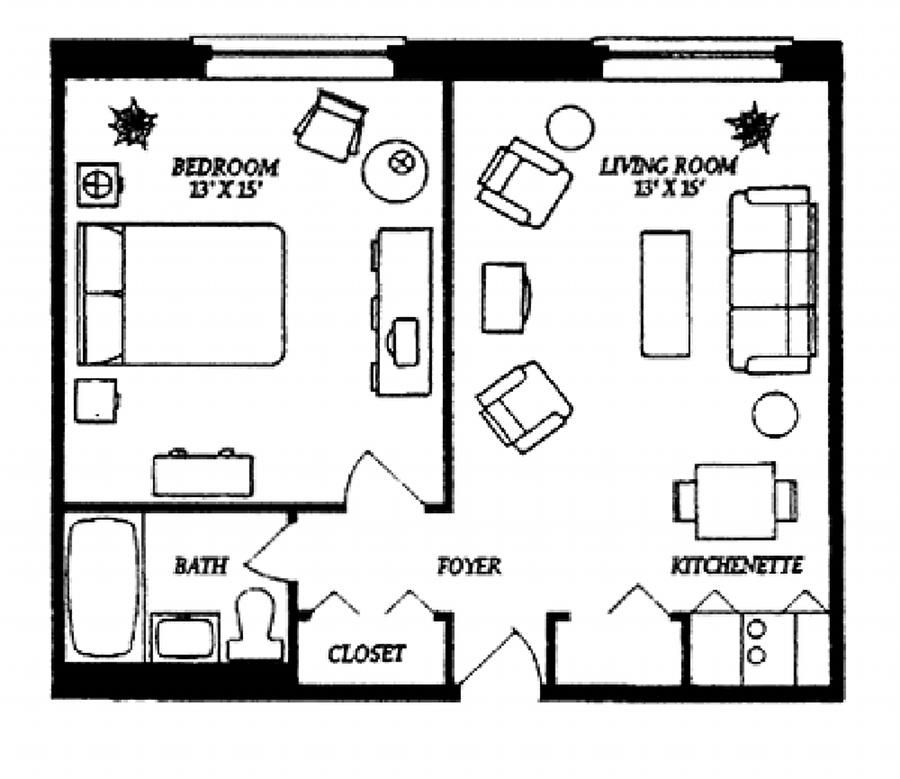 Small studio apartment floor plans our one bedroom for Garage apartment plans with kitchen