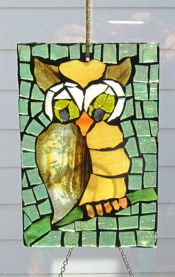 Mosaic Horned Owl  Stained Glass SunCatcher or by HildeMosaics, $26.00