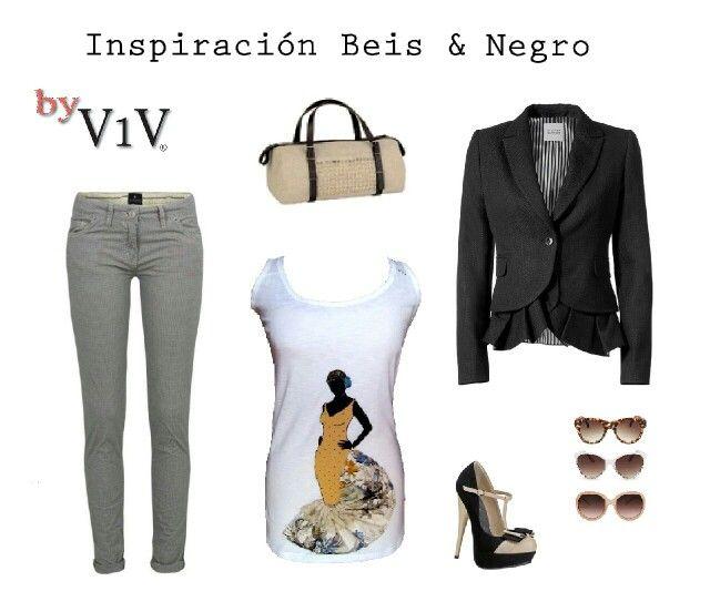 Combinación en Beige & Negro. Camisetas flamencas Aires del Sur desde *25eur únicas & exclusivas en www.vales1valer.com