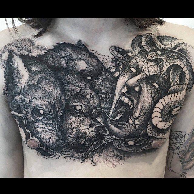 medusa and cerberus tattoo on chest medusa and tattoo. Black Bedroom Furniture Sets. Home Design Ideas