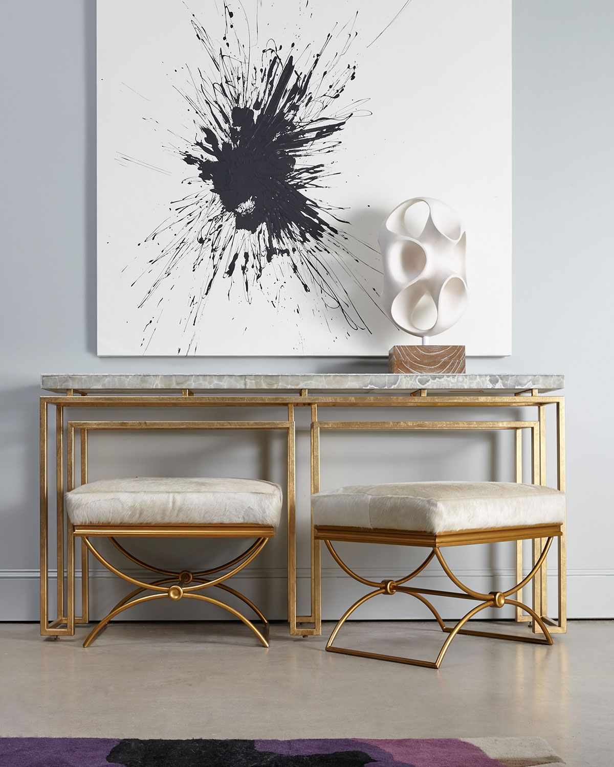 Modern hallway storage gold console table gold metal console table - Gold Serendipity Console