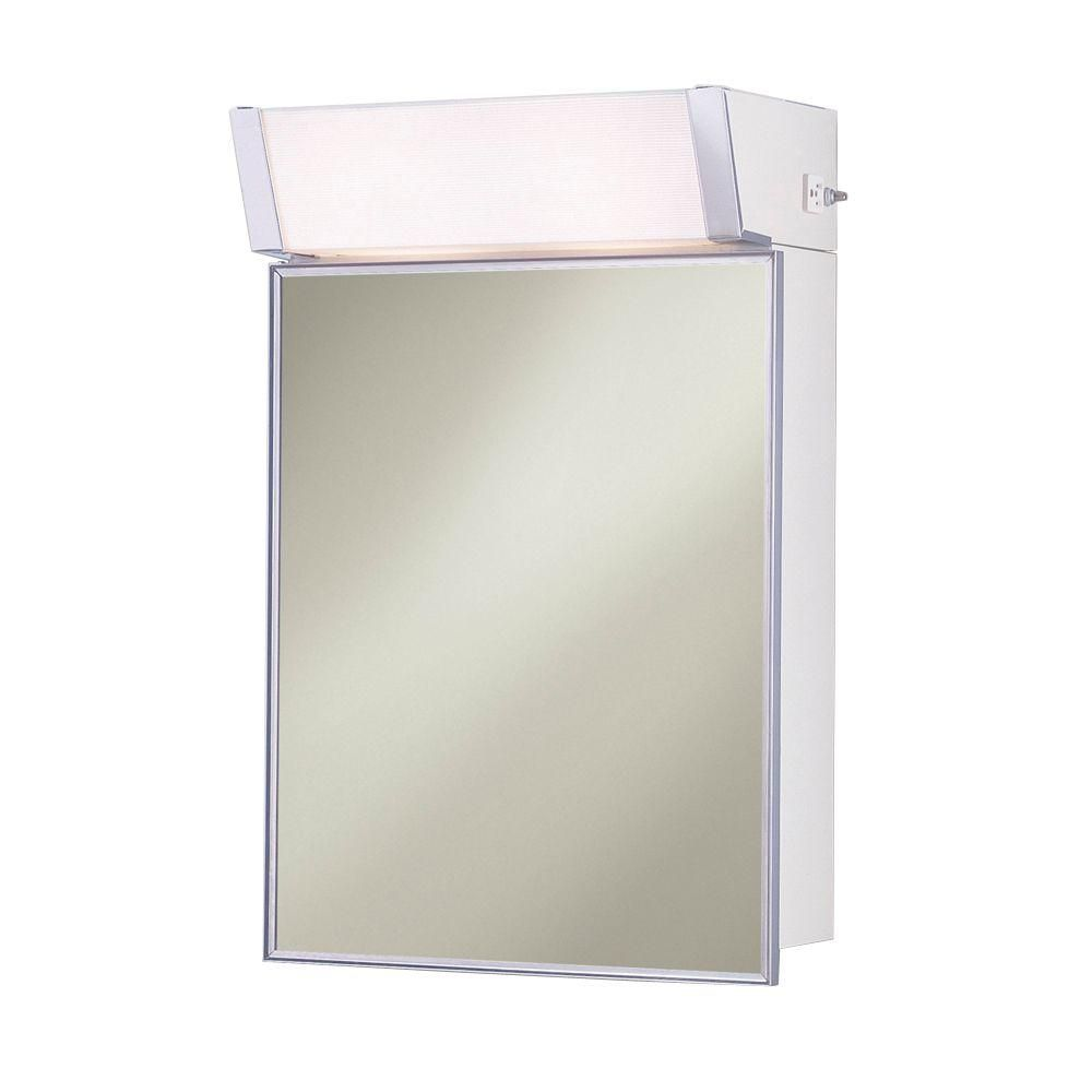 Lighted 16 In W X 24 In H X 8 In D Framed Stainless Steel