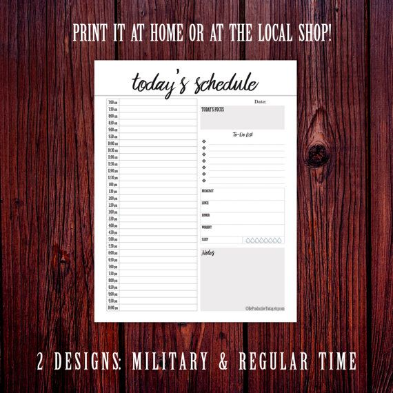 Hourly Planner Printable Daily Schedule Agenda  Daily