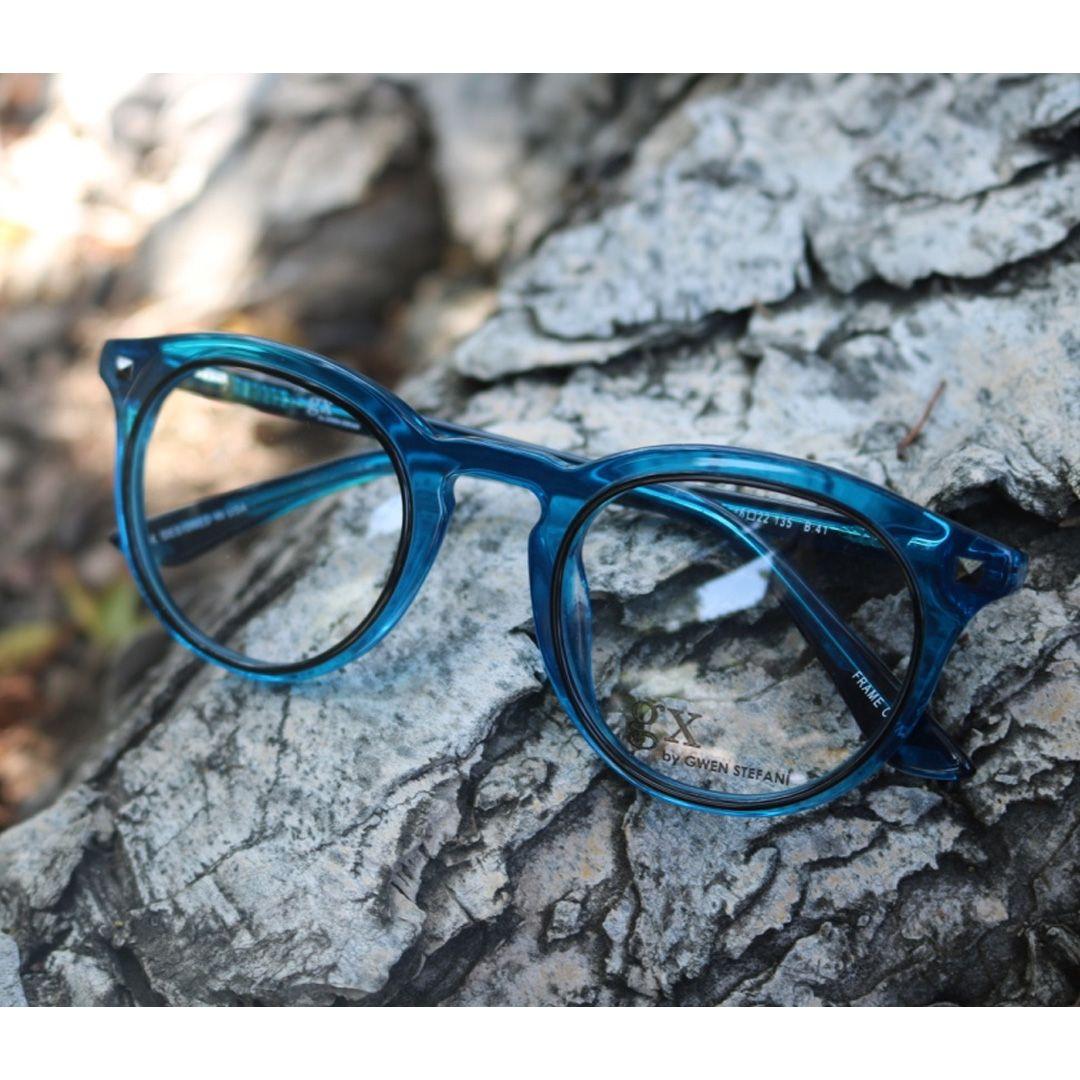 6c1ddfde8d gx by Gwen Stefani eyewear in blue crystal! Round glasses for a nerdy chic  look