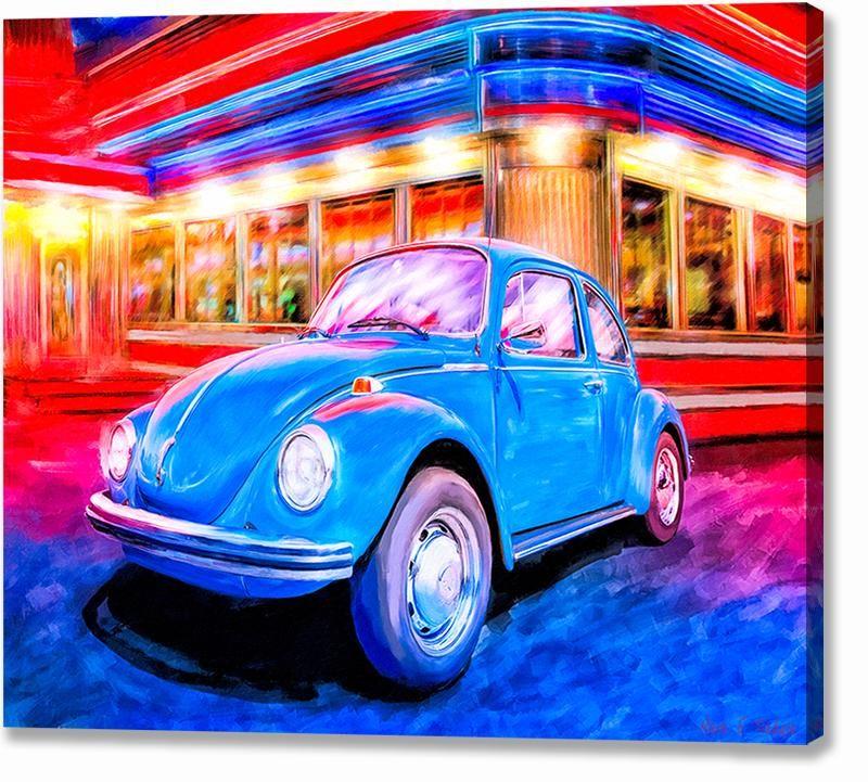 Blue Volkswagen Bug – Classic Car Canvas Print