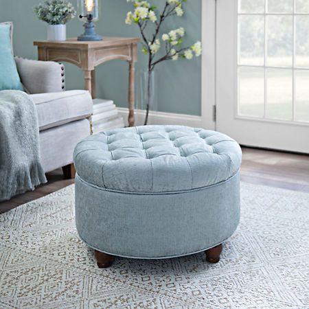Round Blue Tufted Storage Ottoman | Kirklands | Ottomans | Pinterest ...