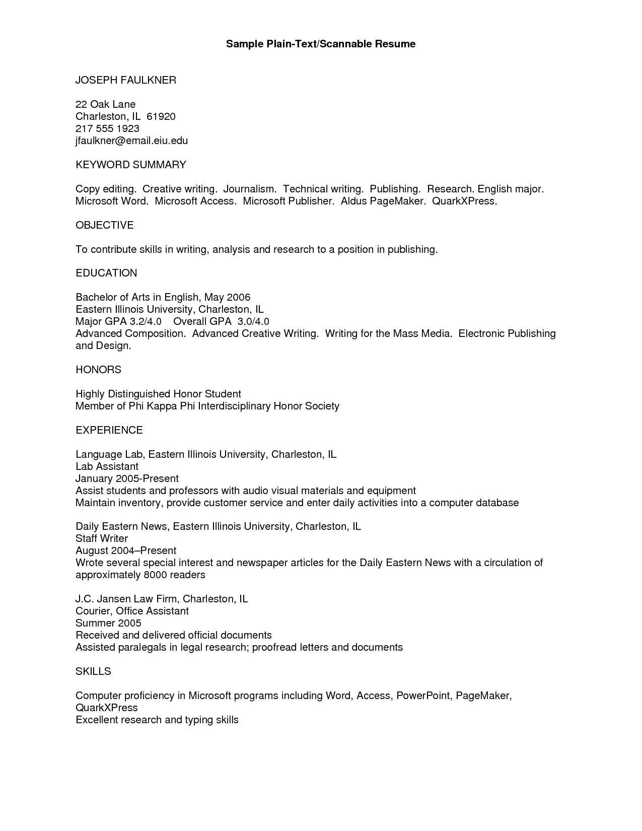 Plain Text Resume Example