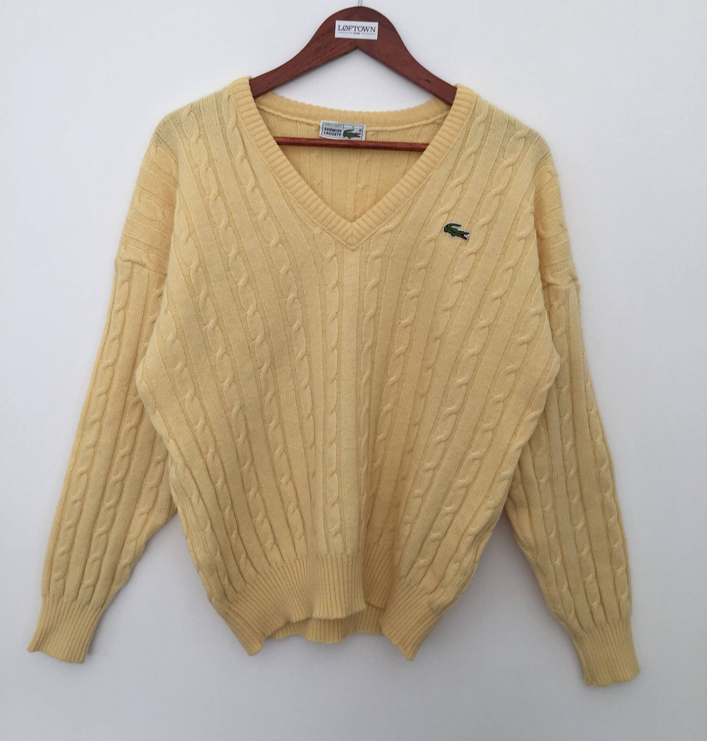vintage Lacoste / vintage sweater / 80s sweater / yellow sweater ...