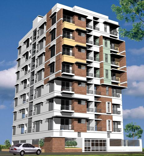 Modern apartment building design illustration buildings for Modern tower house designs