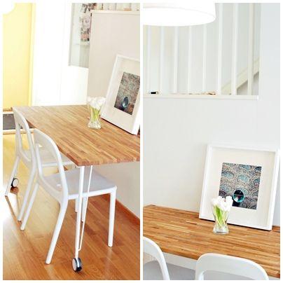 Ikea hack: Mesa de cocina con un tablero de roble de Bauhaus