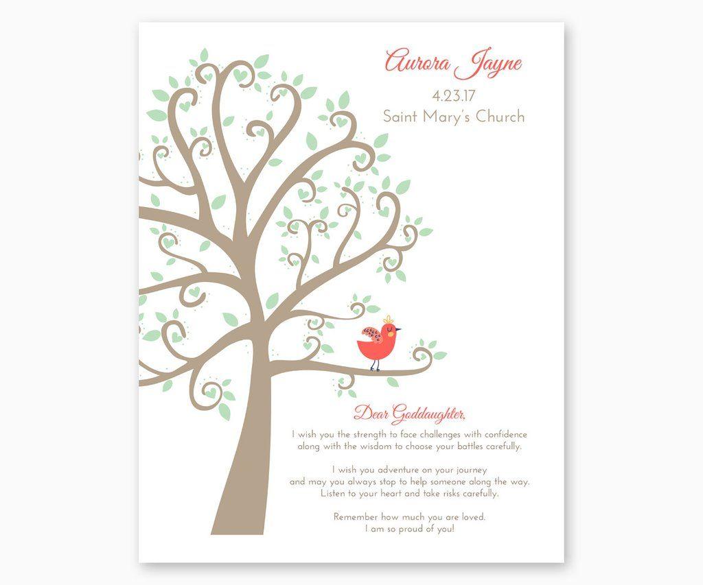Personalized Baptism Gift Print For Goddaughter Or Godson Baptism