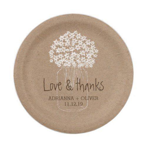 Rustic Kraft Paper Mason Jar Floral Wedding Paper Plate | Wedding ...