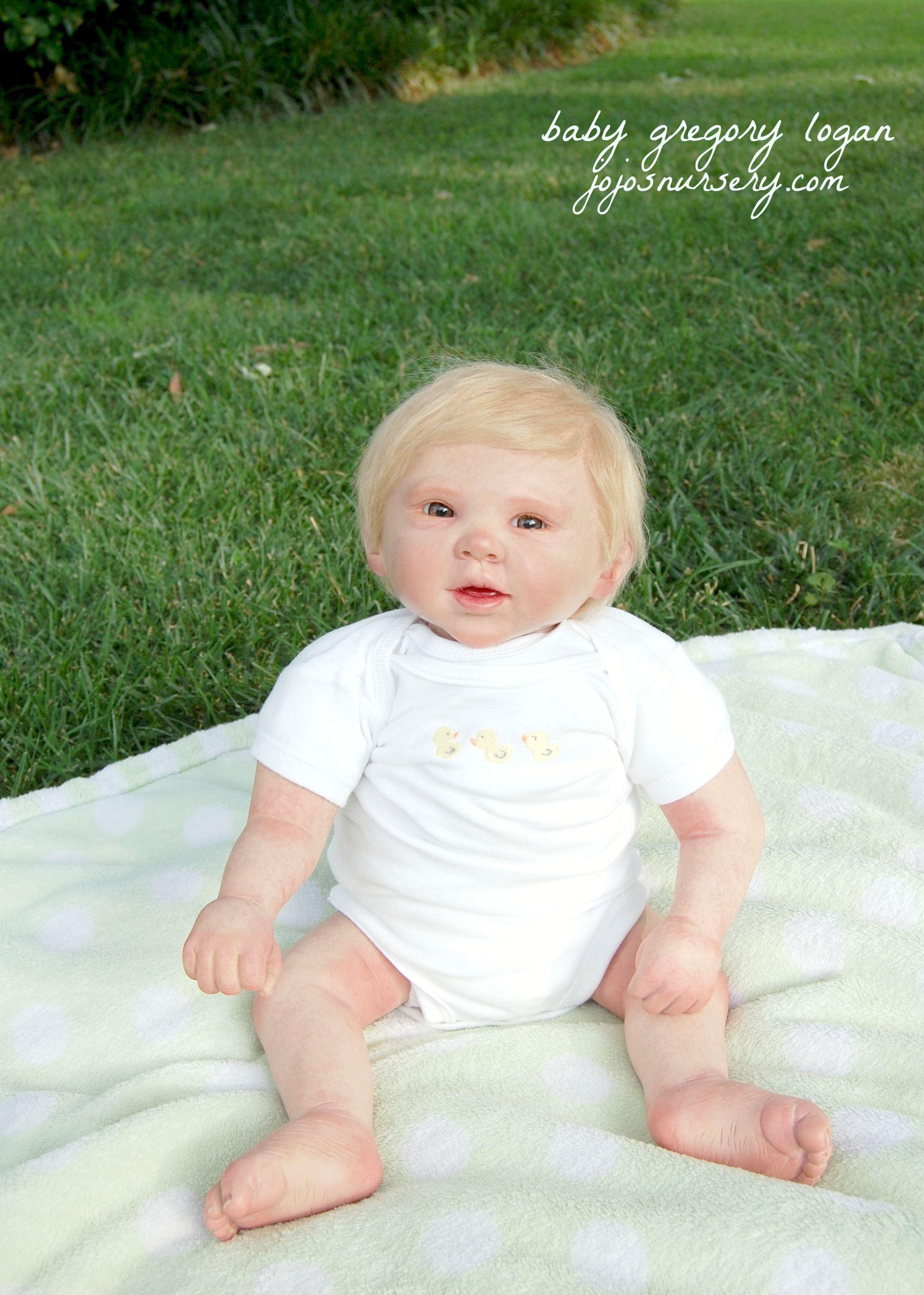 Reborn Baby Boy Brown Eyes Newborn Hair Rooting Mohair