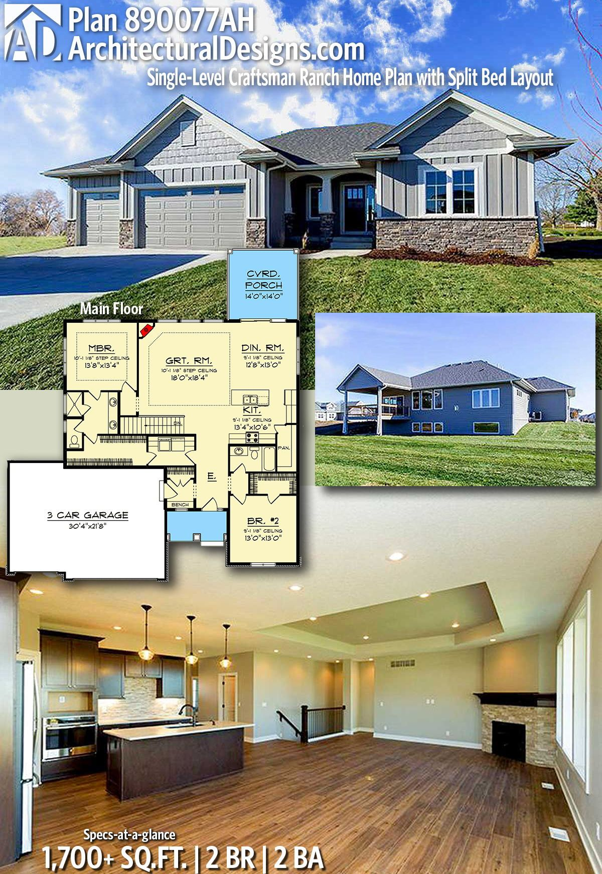 Plan 890077ah Single Level Craftsman Ranch Home Plan With Split Bed Layout Ranch House Plans House Plans Craftsman House Plans