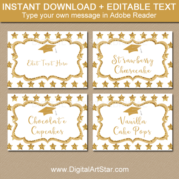 Gold Graduation Food Label Template With Gold Glitter Stars Food Label Template Food Labels Printable Star Graduation