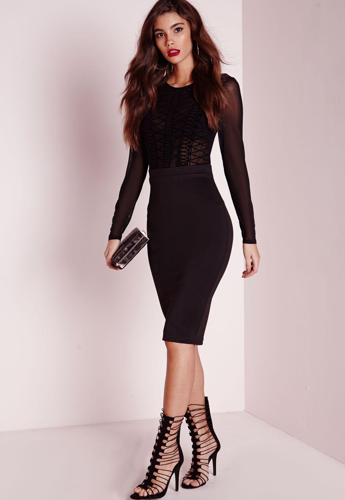 Missguided Long Sleeve Mesh Top Midi Dress Black Simple Long Sleeve Dress Black Midi Dress Midi Dress [ 1680 x 1160 Pixel ]
