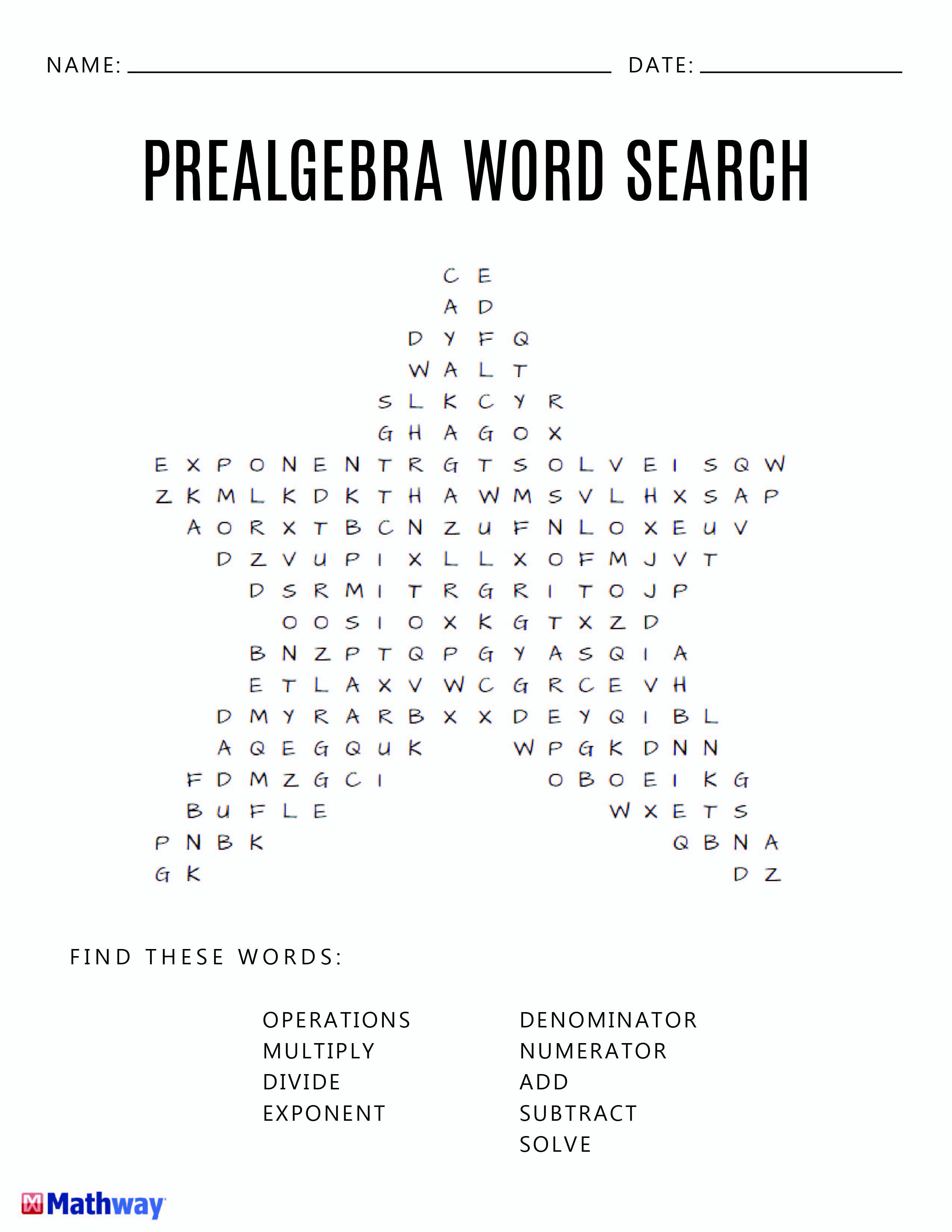 Pre Algebra Star Word Search Activity A Good Filler