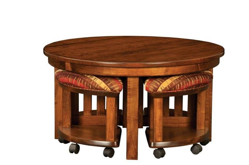 Amish Mission Round Coffee Table And Stool Set With Hydraulic Lift Tables Accent 12466
