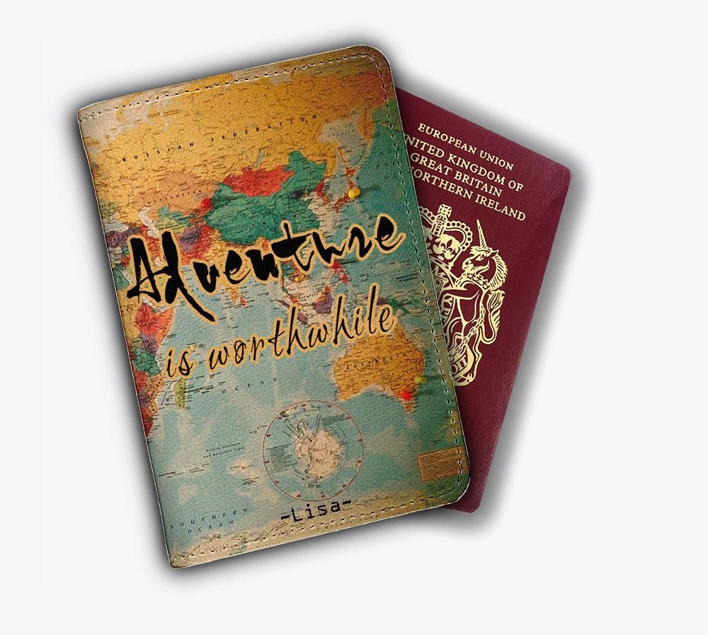 Vintage World Map Passport Cover Travel ID Holder Wallet Protector Case Office