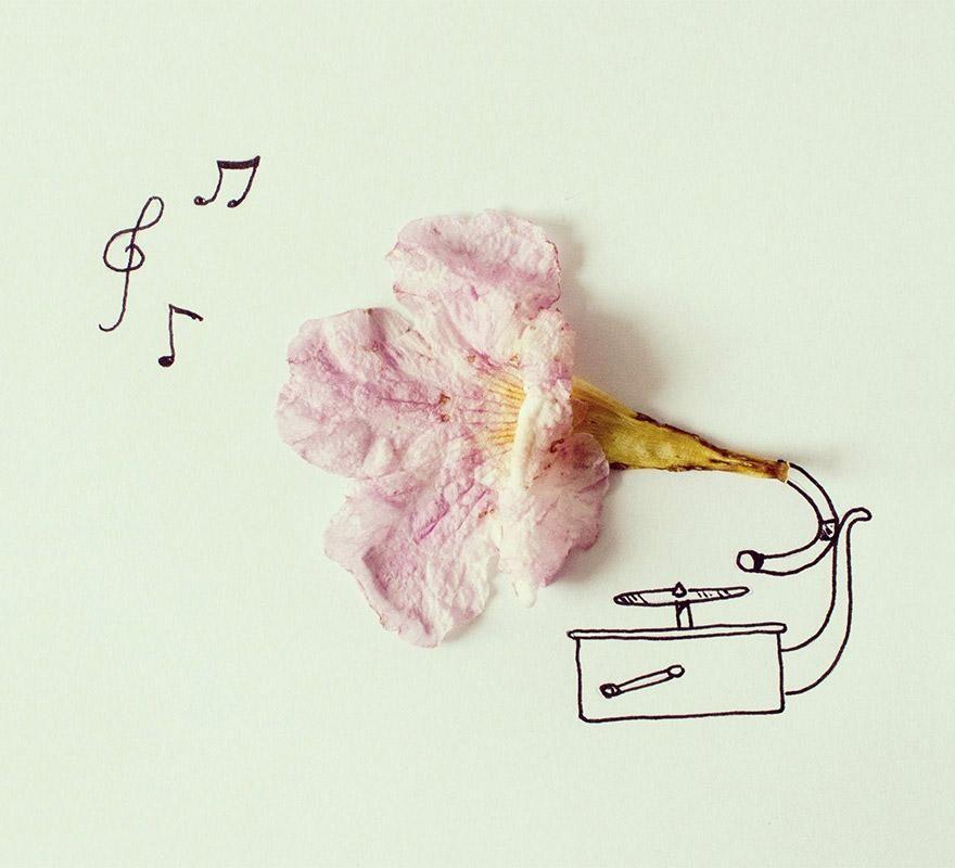Ilustracion y objetos que construyen un mensaje único: Gramofona Flor #inspiration