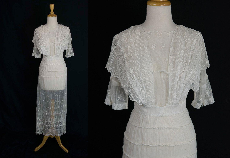 Antique edwardian tambour lace gown vintage 1900s wedding