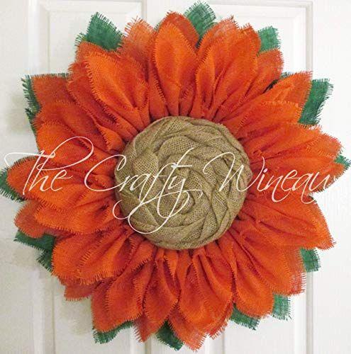 Photo of Amazon.com: Extra Thick Mandarin Burlap Sunflower Wreath from The Crafty Wineaux ™: Handmade